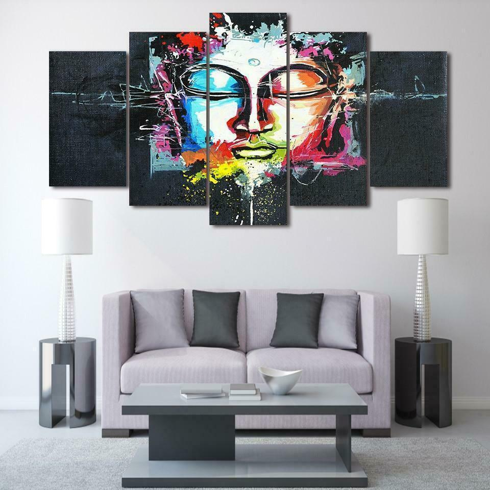 Abstract Farbeful Buddha 5 piece Canvas Wall Decor Home Decor Canvas Print