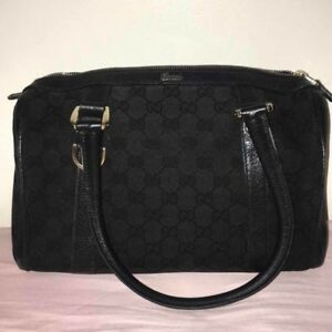 06e03fef4fa AUTHENTIC Gucci 130942 GG Canvas Leather Black Mini Boston Shoulder ...