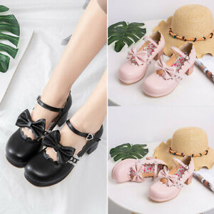Women-Cute-Mary-Jane-Shoes-Lolita-Ankle-Strap-Thick-Heel-New-Bow-Platform-Pumps