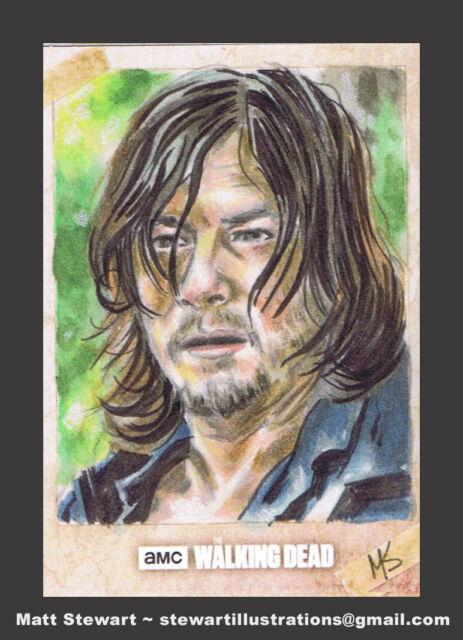 2017 Walking Dead Season 7 Daryl Dixon Artist Proof sketch card Matt Stewart
