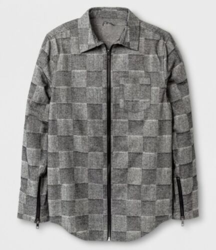 NWOT ART CLASS Boys zip-front gray plaid flannel long-sleeved shirt M or L