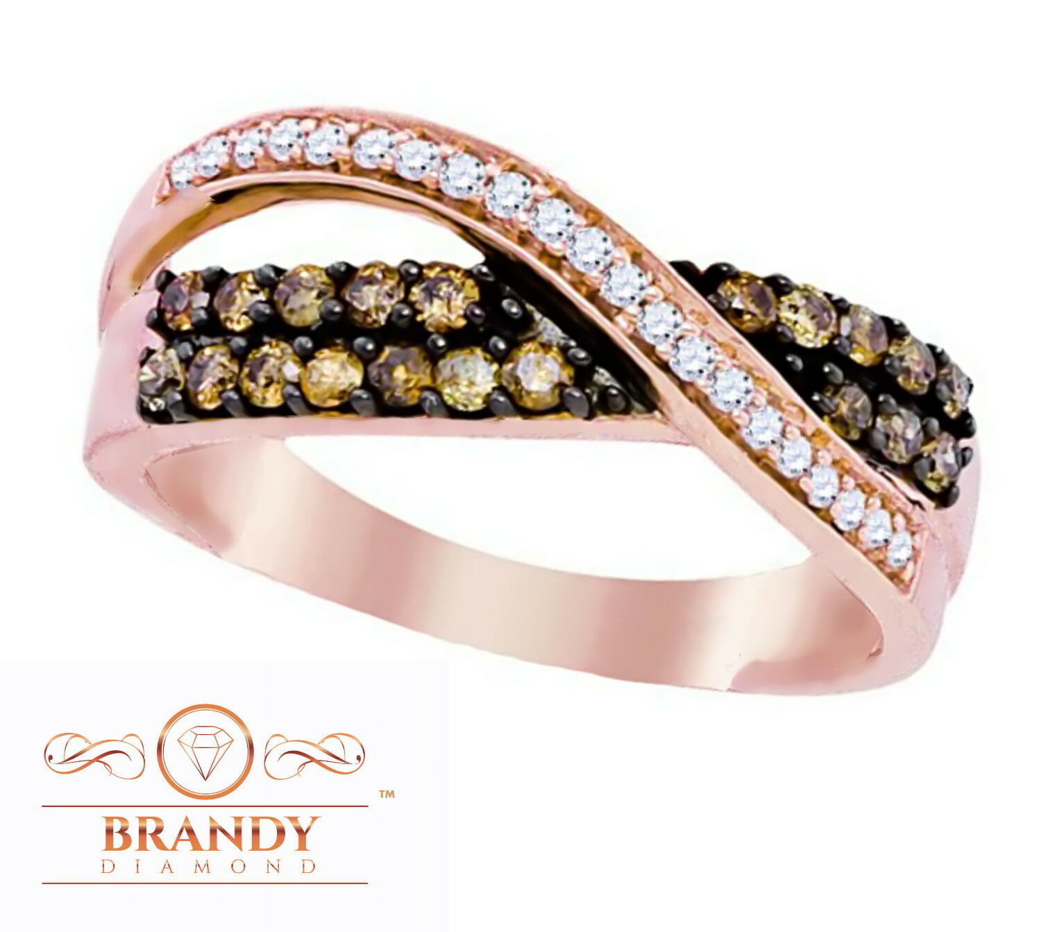 Brandy Diamond® Chocolate Brown 10K pink gold Most Beautiful Ring .52 Ct