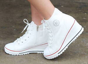 1ae83a554cfc New Women Casual High Top Canvas Wedges Shoes Mid Heel Lace Up ...