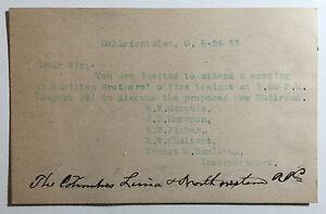 Antique Postcard, Invitation to Discuss Columbus, Lima & Northwestern RR, 1897