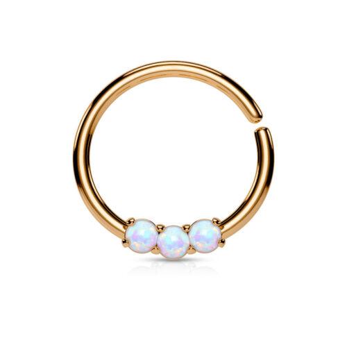 Nasenring Piercing Zirkonia Chirurgenstahl Opal 10mm versilbert Septum Ring