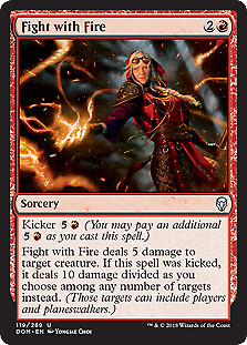 Magic Card Red Uncommon 4x MTG: Fight with Fire Dominaria DOM