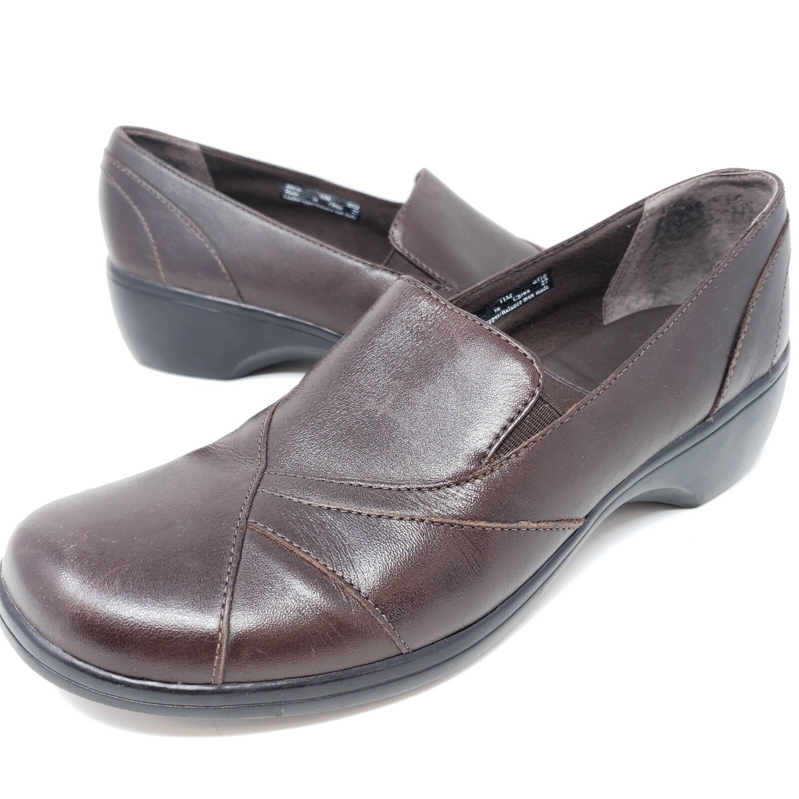 Clarks Women's Loafer Pumps Brown Leather Asymmetrical Slip On Comfort Shoes 11M