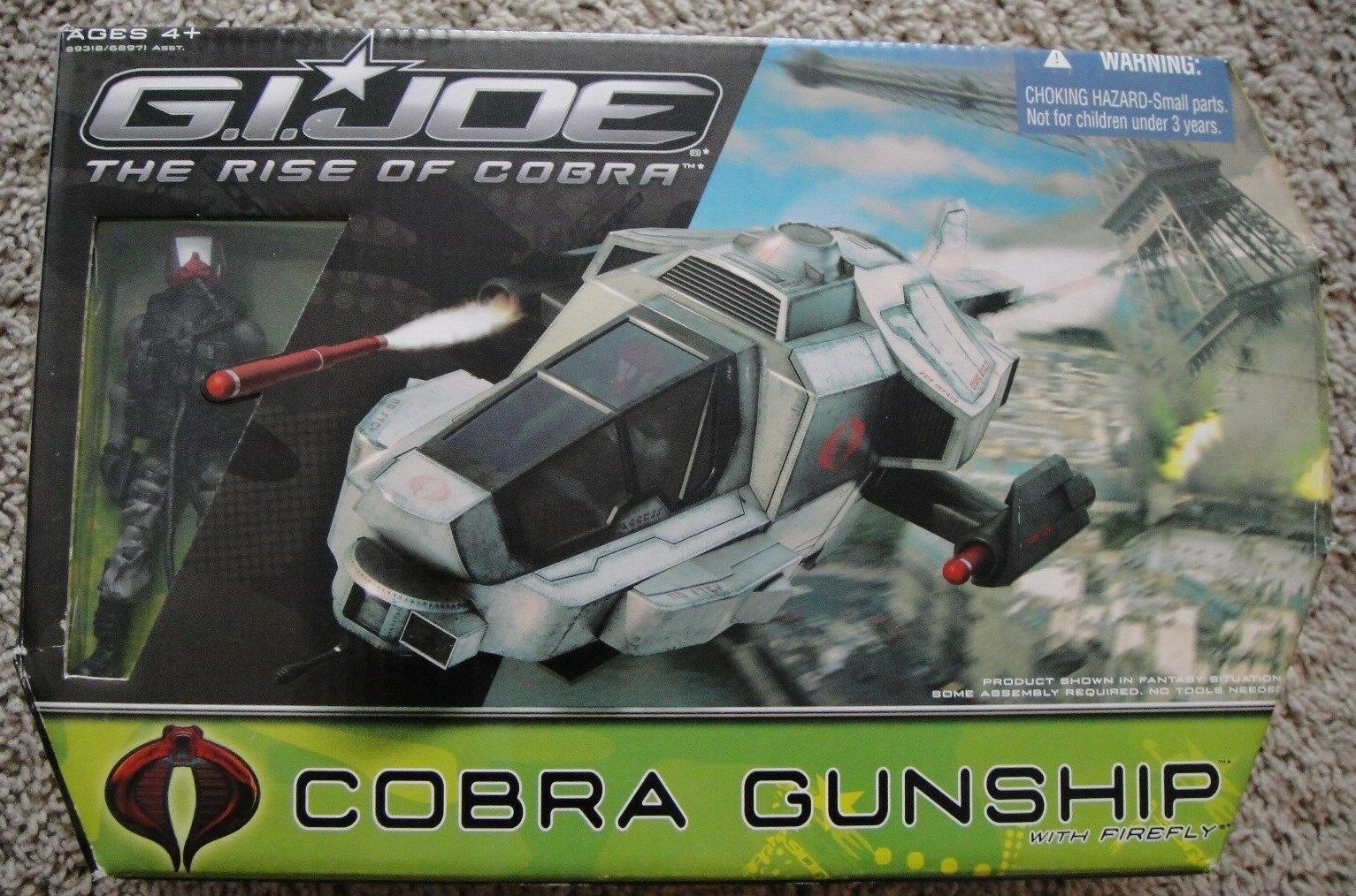 G.I. JOE RISE OF COBRA FIREvolare COBRA GUNSHIP nuovo RARE 25TH ANNIVERSARY