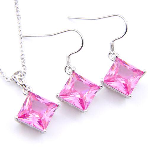 Valentine/'s Set 2 pcs lots Square Genuine Pink Topaz Gem Pendentif en argent Boucles d/'oreilles