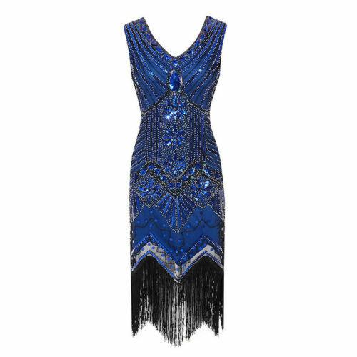1920s Great Gatsby Charleston Fringe Tassels Sequins Beaded Flapper Dress 6-20