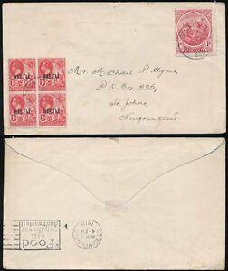BARBADOS to NEWFOUNDLAND KG5 1918 BLOCK of WAR TAX + FOOD WILL WIN Slogan