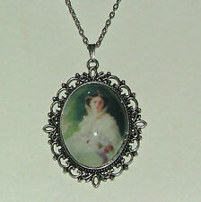 LARGE GLASS CAMEO LADY WHITE VICTORIAN STYLE DARK SILVER PLATED PENDANT C