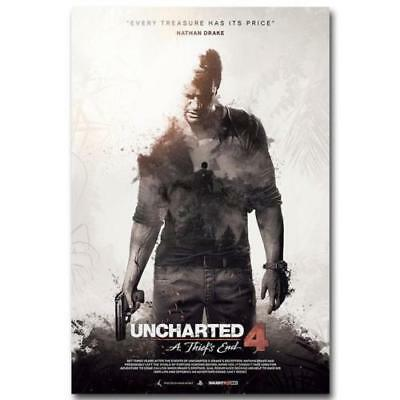 Uncharted 4 A Thiefs End Minimalist Movie Poster Silk Print 13x20