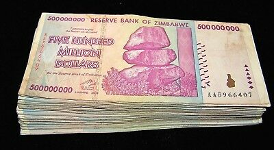 500 x Zimbabwe 100 Million Dollar banknotes 2008 AA only 5 currency bundles