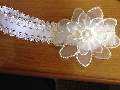 PREEMIE HANDMADE HEADBANDS WHITE LACE ELASTIC PEARL CENTRE WITH DIAMOMTI AROUND