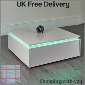 Details About Led Lighted Coffee Table High Gloss White Storage Sofa Lounge Living Room