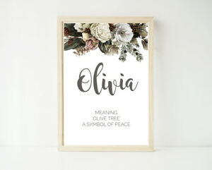 Name & Meaning, Personalised Poster Print, Baby Nursery Unisex