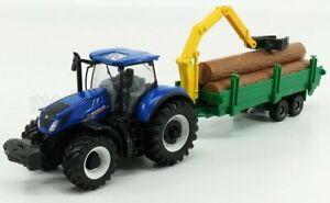 BURAGO 1/50 NEW HOLLAND | T7.315 TRACTOR + TREE FORWARDER AND WOOD | BLUE GRE...
