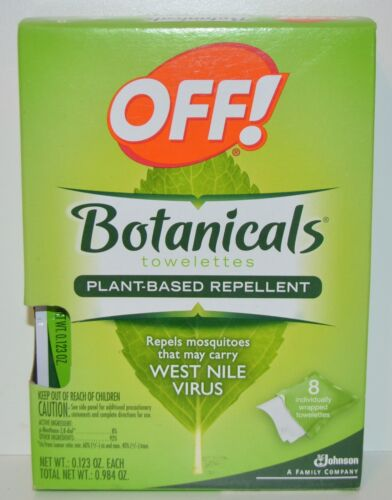 NEW OFF! BOTANICALS INSECT REPELLENT TOWELETTES PLANT MOSQUITOES BUG 8 WIPES