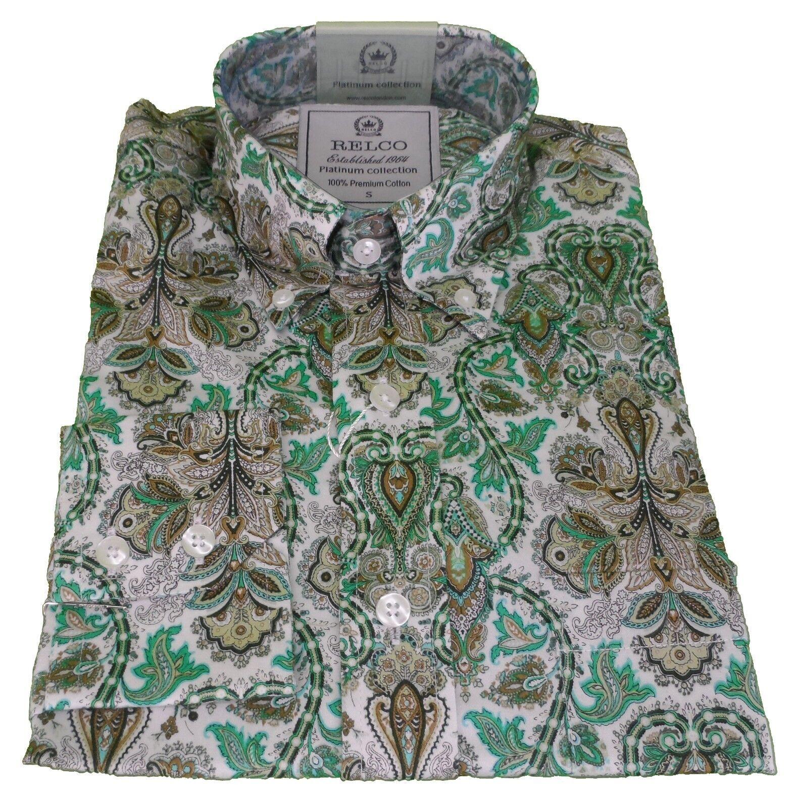 Relco Platinum Bianco verde oro Paisley Raso Cotone Retrò MOD Camicia'S