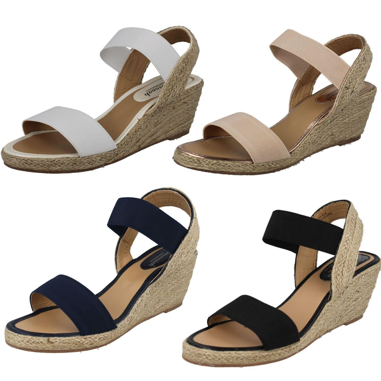 Ladies Spot UK On Elasticated Wedge Sandals UK Spot Sizes 3-8 F2R270 0e0ba8