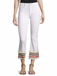 McGuire Denim  258 Ambrosio Gainsbourg Embroidered Cropped Jeans White - 25