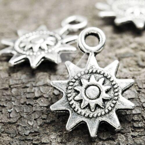 Antikes Tibetische Silber Charms Anhänger Schmuck Sonne 17x12x2mm 80stk