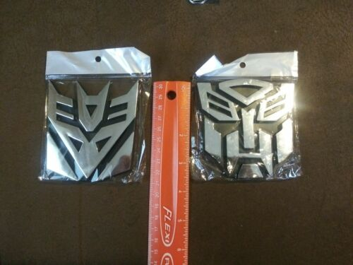 2x Transformers Adhesive Stick On Autobots /& Decepticons Car /& Truck Emblems NIP