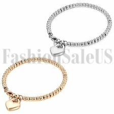 Womens Ladies Stainless Steel Charm Heart Dangle Beaded Chain Bracelet Bangle