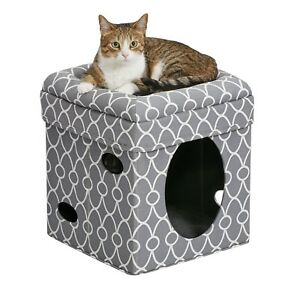 Midwest Curious Cat Cube Elevated Bolstered Bed Hide Away Lounger Gray