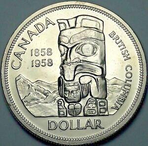 1958-CANADA-SILVER-DEATH-DOLLAR-TOTEM-PROOF-LIKE-GEM-BU-SUBTLE-TONED-UNC-DR