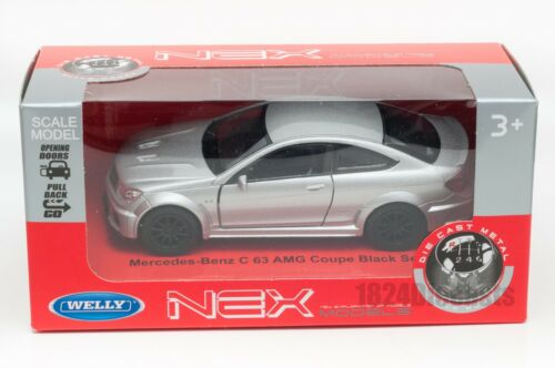 Welly scale 1:34-39 model toy car gift Mercedes-Benz C 63 AMG Coupe silver