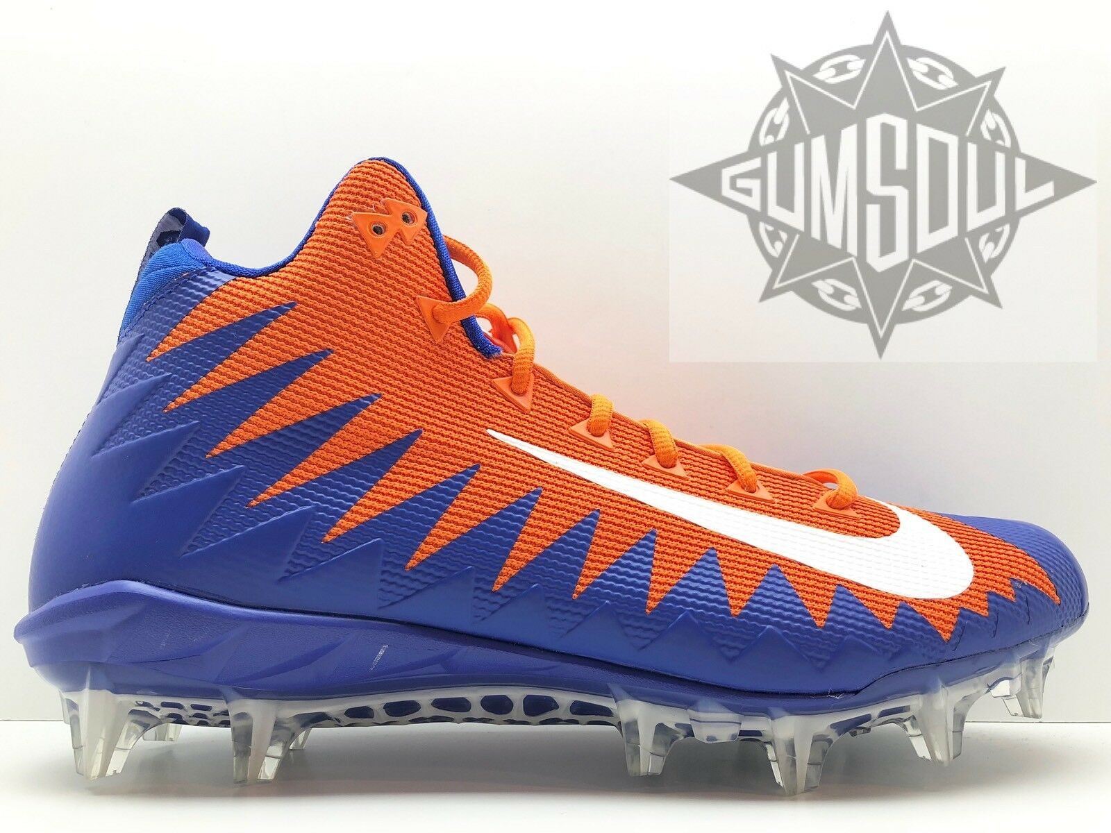 NIKE ALPHA MENACE PRO MID FOOTBALL CLEATS BLUE ORANGE GATORS 884527 sz 13