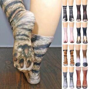 Soft-Adult-3D-Animal-Paw-Crew-Socks-Women-Men-Animal-Novelty-Printed-Funny-Socks