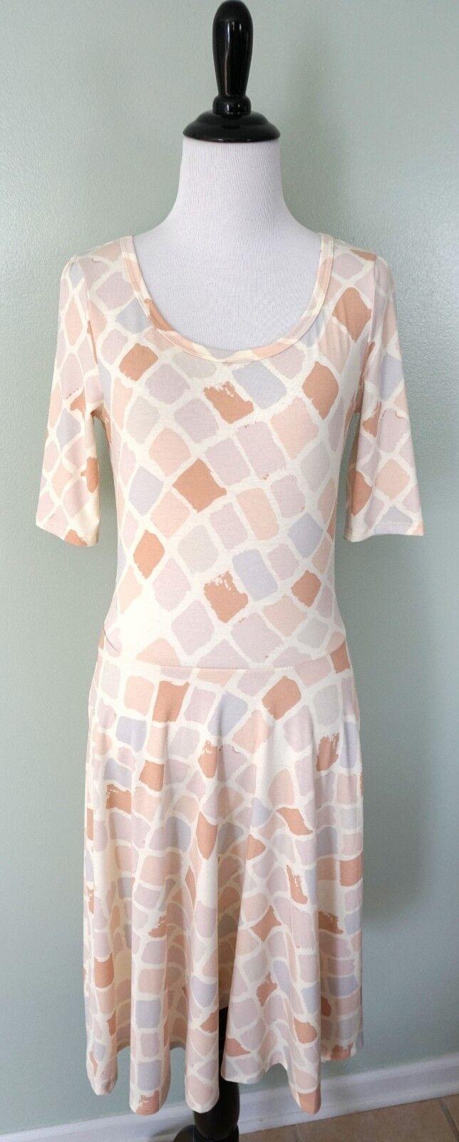 LULAROE Nicole White Pink bluee Scoop 3 4 Sleeve Party Flare Stretch Dress Size S