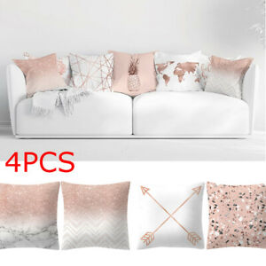 Pleasing Details About 4Pcs Rose Gold Pink Cushion Pillow Cover Square Pillowcase Home Decoratio G Usa Caraccident5 Cool Chair Designs And Ideas Caraccident5Info