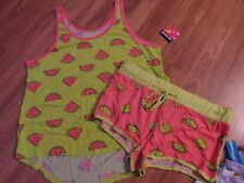 women's junior's Joe Boxer pajama set ~ tank top & short ~  large watermelon