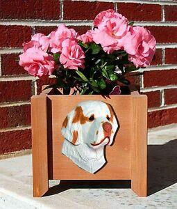 Clumber-Spaniel-Planter-Flower-Pot-Orange