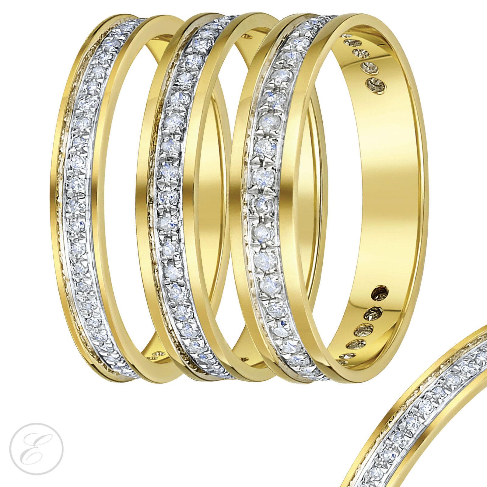 9CT yellow gold Diamante Eternity Anillos Tercera Carat, Cuarto 0,15ct 1   CT 6