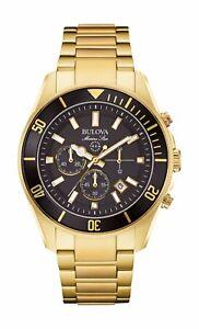 Bulova-Marine-Star-Men-039-s-98B250-Quartz-Chronograph-Black-Dial-Gold-Tone-Watch
