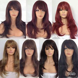 Largo-Peluca-Capas-de-Mujer-Dama-Resistente-Al-Calor-Rojo-Negro-Marron-Rubio