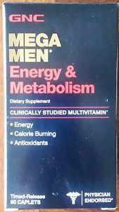 GNC-Mega-Men-Energy-amp-Metabolism-Vitamins-Supplements-90-Caplets-New