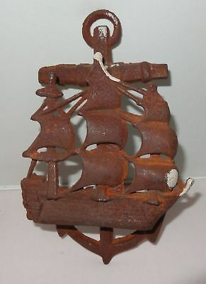 Cast Iron Antique Style SHIP ANCHOR Door Knocker NAUTICAL PIRATE Brown Finish