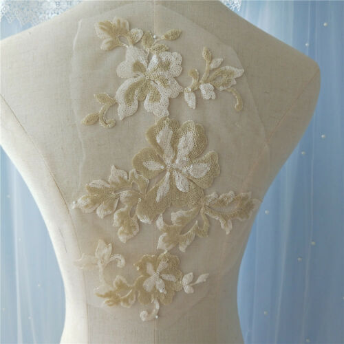 12 Colour Blossom Wedding Gown Motif Beaded Lace Trim Bridal Dress Applique 1PC