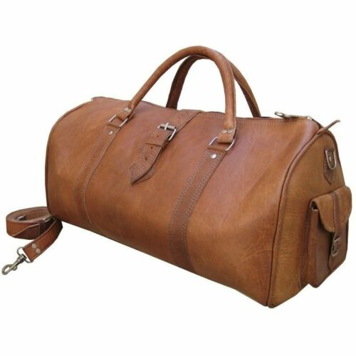 Vintage Retro Men Genuine Leather Travel Duffel Weekend Bag Lightweight Luggage