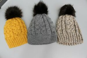 Hand-Knitted-Faux-Fur-Pom-Pom-Cable-Bobble-Hat-Grey-Mustard-Purple-Teal-Oateal