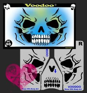 Details about Easy Reusable FX Halloween Face Painting Stencil Skull  Skeleton Voodoo Reaper