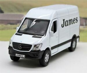 PERSONALISED-PLATE-and-Name-Gift-White-Mercedes-Van-Boys-Toy-Model-Present-Boxed