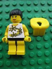 Lego GIRL Female Minifigure BIKINI Beach Life Jacket Flowers City Town