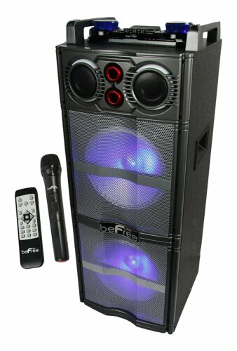 "BEFREE Dual 10/"" Inch SUBWOOFER BLUETOOTH PORTABLE PARTY DJ SPEAKER LIGHTS USB FM"